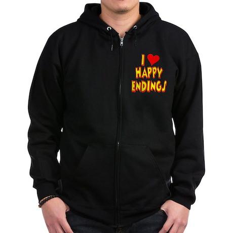 I Love Happy Endings Zip Hoodie (dark)