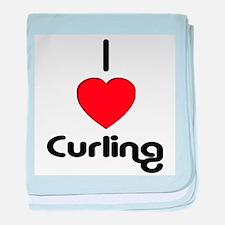 I Love Curling baby blanket