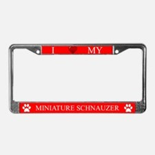 Red I Love My Miniature Schnauzer Frame
