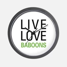 Live Love Baboons Wall Clock