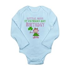 Little Miss St. Patrick's Day Birthday Long Sleeve