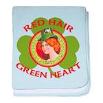 Red Hair Green Heart Irish Girl baby blanket