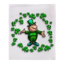 Leprechaun with Shamrocks Throw Blanket