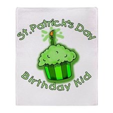 St Patricks Day Birthday Kid Throw Blanket