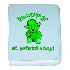 Green Teddy Bear baby blanket