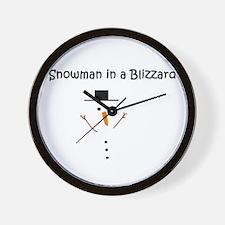 Snowman in a Blizzard Wall Clock