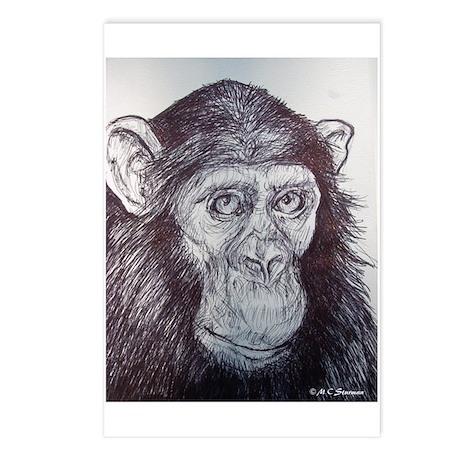 Chimp, fun art, Postcards (Package of 8)
