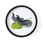 Blue Sumatra Chickens Wall Clock