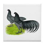 Blue Sumatra Chickens Tile Coaster