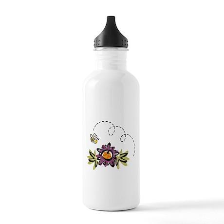 BEE & PURPLE FLOWER Stainless Water Bottle 1.0L