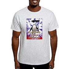 Electric Ninja Penguin Ash Grey T-Shirt