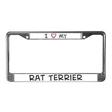 I Love Rat Terrier License Plate Frame