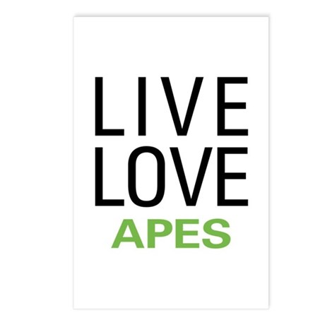 Live Love Apes Postcards (Package of 8)