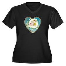 Cute Victorian valentine Women's Plus Size V-Neck Dark T-Shirt