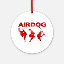 Red Snowboard Airdog Round Ornament