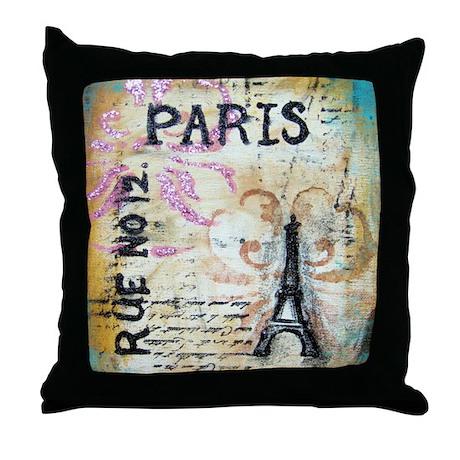 Shabby Chic Paris Throw Pillow