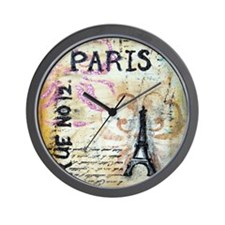 Shabby Chic Paris Wall Clock