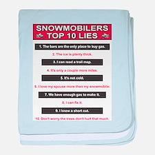 Snowmobiler top Ten Lies baby blanket