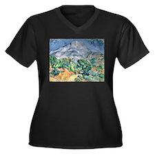 Cute Cezanne Women's Plus Size V-Neck Dark T-Shirt