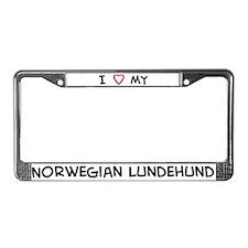 I Love Norwegian Lundehund License Plate Frame