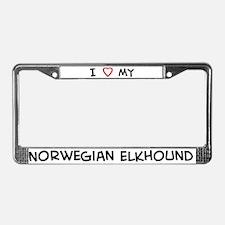 I Love Norwegian Elkhound License Plate Frame
