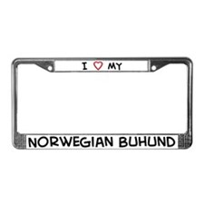 I Love Norwegian Buhund License Plate Frame