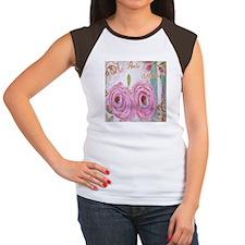 PARIS ROSES Women's Cap Sleeve T-Shirt