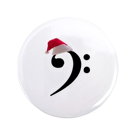 """Christmas Santa Bass Clef 3.5"""" Button (100 pack)"""