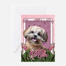 Mothers Day GoldenDoodle Pink Tulips Greeting Card