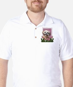 Mothers Day GoldenDoodle Pink Tulips Golf Shirt