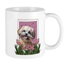 Mothers Day GoldenDoodle Pink Tulips Mug
