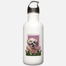 Mothers Day GoldenDoodle Pink Tulips Water Bottle