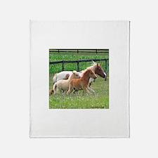Three Mini Horses Running Throw Blanket