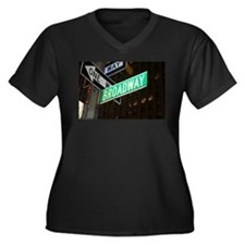 Broadway Women's Plus Size V-Neck Dark T-Shirt