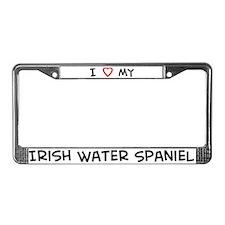 I Love Irish Water Spaniel License Plate Frame