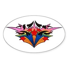 Colorful Shooting Stars Oval Decal