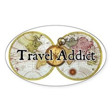 """Travel Addict"" Oval Decal"