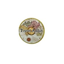 """""""Travel Addict"""" Mini Button"""