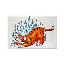 Flaming Tiger Cub Rectangle Magnet