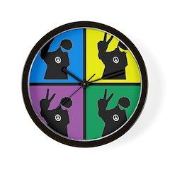 Color Peace Man Gear Wall Clock