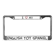 I Love English Toy Spaniel License Plate Frame
