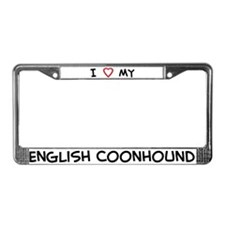I Love English Coonhound License Plate Frame