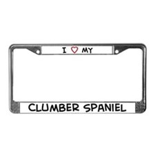 I Love Clumber Spaniel License Plate Frame