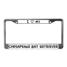 I Love Chesapeake Bay Retriev License Plate Frame