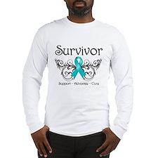 Survivor Deco Ovarian Cancer Long Sleeve T-Shirt