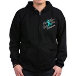 Love Hope Ovarian Cancer Zip Hoodie (dark)