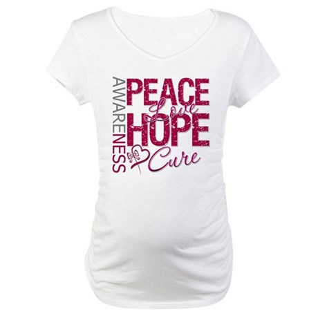 Throat Cancer Peace Love Hope Maternity T-Shirt