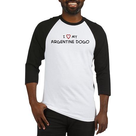 I Love Argentine Dogo Baseball Jersey