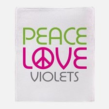 Peace Love Violets Throw Blanket