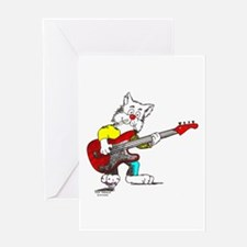 Catoons™ Bass Guitar Cat Greeting Card